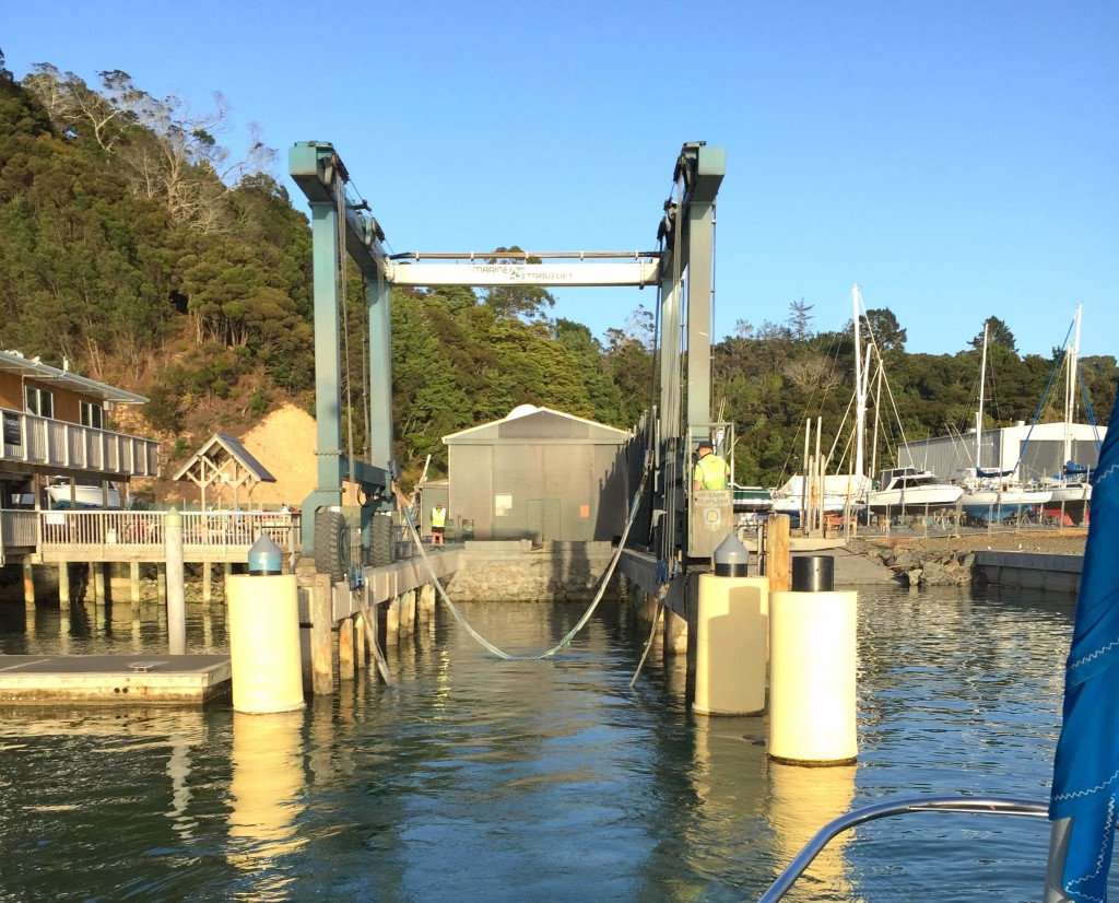 The Sling - Opua's TravelLift awaits to transform our boat into a waterfront condo