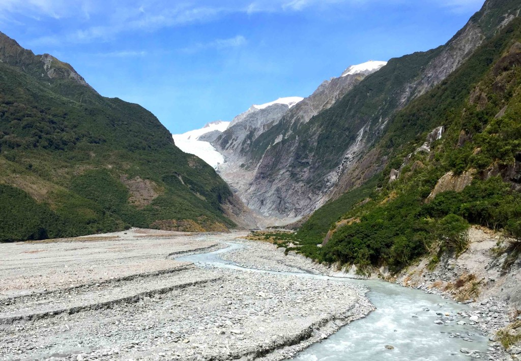Franz Joseph - The glacier towers over this valley. Our hike leads nearly up to the base