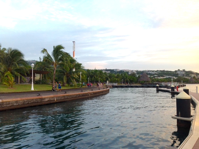 Papeete Waterfront - A lovely park lines the harbor in Tahiti