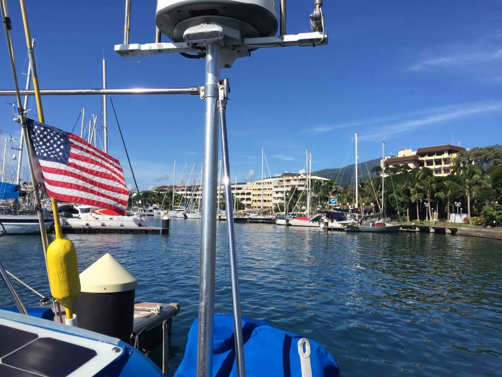 Departing Tahiti - Our stars & stripes showing